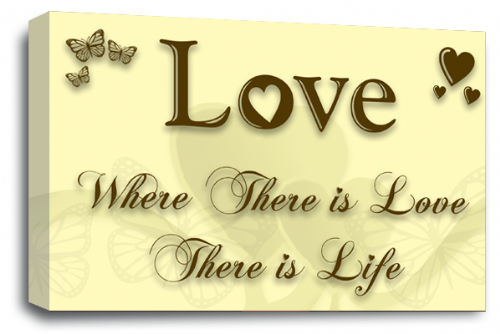 Love Quote Wall Art Picture Cream Brown Home Print